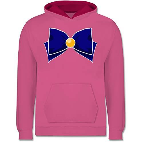 Kind Kostüm Rosa Supergirl - Shirtracer Karneval & Fasching Kinder - Superheld Manga Venus Kostüm - 9-11 Jahre (140) - Rosa/Fuchsia - JH003K - Kinder Kontrast Hoodie