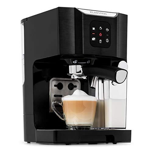 Klarstein BellaVita Máquina de café • 3 en 1 para espresso, capuccino y latte macchiato • 0,4 l espumadora de leche • 1450 W • 20 bares • Depósito de 1,4 litros • Sistema de autolavado • Negro