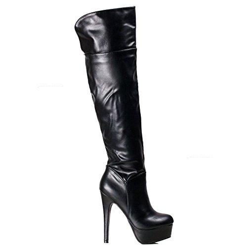 Toocool - Scarpe donna stivali tacchi alti sopra ginocchio ecopelle zip nuovi FX872-19PU Nero
