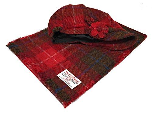 Harris Tweed Baker Boy-Art-Hut und Schal Set in Rot Tartan