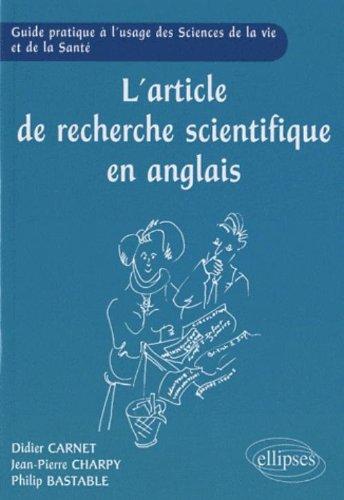 L'article de recherche scientifique en anglais par Didier Carnet, Jean-pierre Charpy, Philipe Bastable