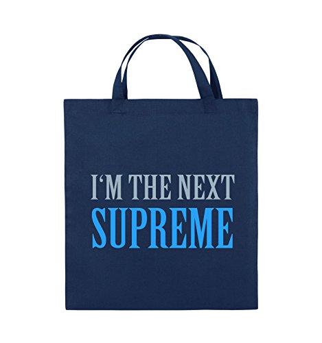 Comedy Bags - I'm the next supreme - Jutebeutel - kurze Henkel - 38x42cm - Farbe: Schwarz / Weiss-Neongrün Navy / Eisblau-Hellblau