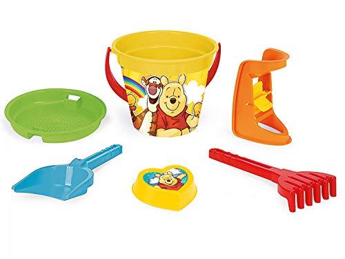 Wader 77137 Disney Winnie Pooh Set de 6 pièces avec Seau à Sable, Moulin à Sable, Pelle et Moule à Sable Multicolore