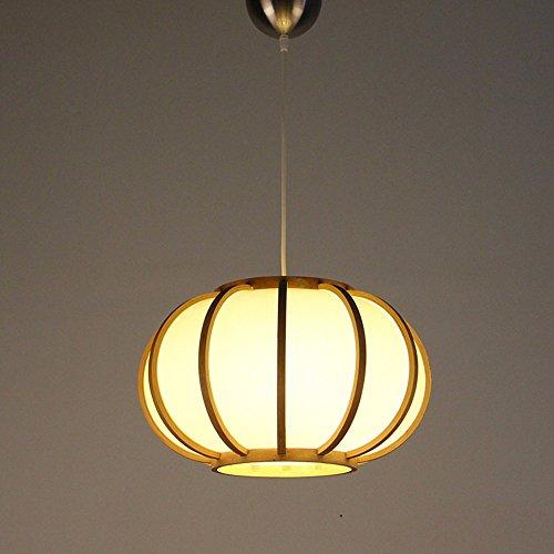 GZLIGHT Pendelleuchte Deckenleuchte Hänge lampe Holz- Kronleuchter Schlafzimmer Tee Lounge Light Corridor Gang Restaurant Licht Kürbis pergament Papier Laternen Original Bambus 43 * 26,5cm Farbe