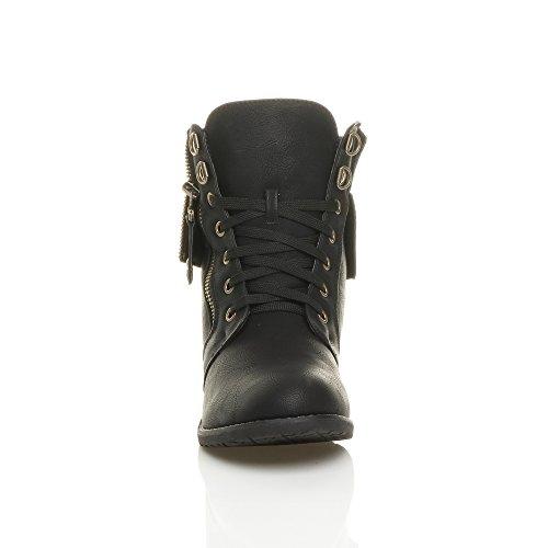 Donna tacco basso collare a maglia chiusura militar stivali alla caviglia taglia Nero