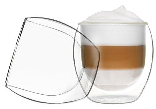 2x 310ml Jumbo Doppelwand Cappuchinogläser, Thermogläser - Set mit Schwebe-Effekt, auch für Latte...