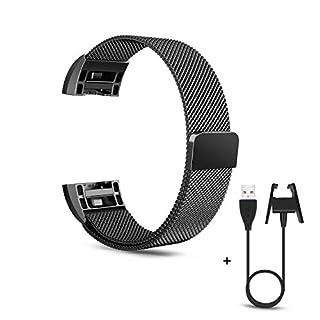 aceyoon for Fitbit Charge 2 Armband Schwarz Milanese Edelstahl Ersatzarmband Wrist Armbänder Uhrenarmband mit Magnet-Verschluss + 53cm Fitbit Charge 2 Ladekabel MEHRWEG