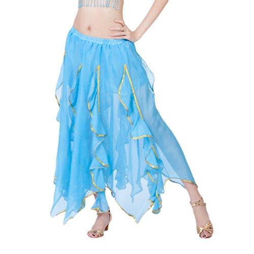 YuanDian Damen Chiffon Lang Bauchtanz Rock Lotus Blätter Gold Draht Seiten Elastische Taille Professionelle Arabische Oriental Belly Dance Performance Perspektive Röcke Kostüm See - Oriental Kostüm
