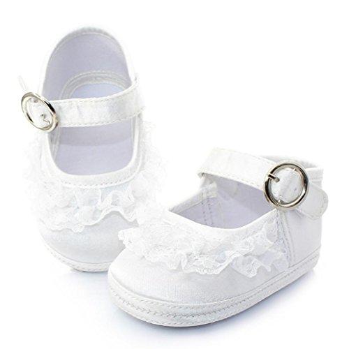 Ouneed® Krabbelschuhe , 3-12 Monate Neue Baby-weiße Prinzessin Anti Rutsch neugeborene Baby Schuhe Freizeitschuhe Weiß B