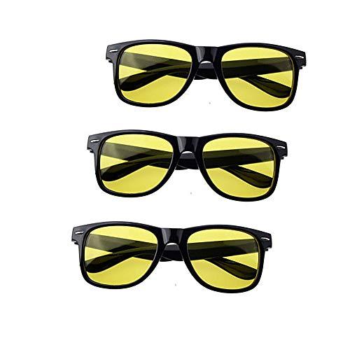 CX ECO 3 Pairs Nachtsichtbrille HD Nachtsichtbrille Nachtsichtbrille Nachtsichtgläser Anti-Blendung Anti-Müdigkeit Strahlenschutz Radfahren Runing Sportbrillen
