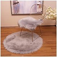 Preisvergleich für Nachahmung Wolle Plüsch Hohlen Eisen Esszimmer Stuhl Computer Freizeit Stuhl Stuhl Kissen Quadrat Pad Decke,Gray