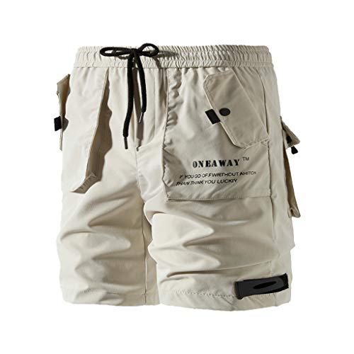 Shorts Herren Arbeit Pure Farbe Knopf-Tasche Overall Wind Kurze Hose -