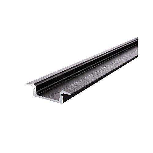 et-Profil 01-12, Plat T pour 12-13,3 mm LED Stripes, 1000 mm Noir Mat brossé