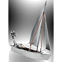 Deko Segelboot Holz natur maritime Dekoration Segelschiff Baddeko Fensterdeko