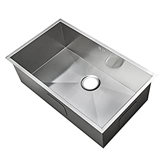 Hecho a mano fregadero de la cocina . Acero inoxidable cepillado. Montaje Bajo Encimera. (DEDS008)