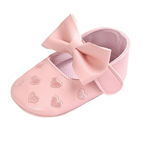 Brightup Baby Mädchen Prewalker Sweet Love Herz Bowknot Anti-Rutsch Soft Sole Leder Schuhe (Casual-walking-soft-leder-schuhe)