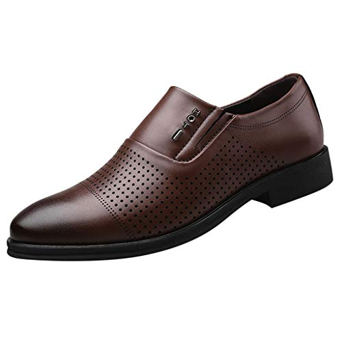 KonJin Shoes Men Leather Formal Oxford Fashion Casual Pointed Toe Slip On Breathable Hollow Wedding Business Shoes UK Size 5.5-10.5 Touch-ups Mid Heel Heels