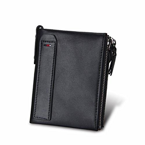 rse, Asnlove Premium PU Leder Portemonnaie Männer mit Anti-RFID und Double Reißverschluss Schnalle Geldbörse Vintage-leder Herrenbörse Geldbeutel Münzen Brieftasche Holder Wallet ()