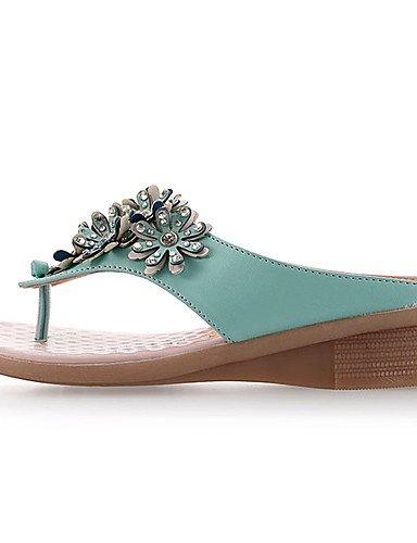 UWSZZ IL Sandali eleganti comfort Scarpe Donna-Sandali-Formale / Casual-Zeppe / Plateau / Con cinghia-Zeppa-Finta pelle-Verde / Bianco light green