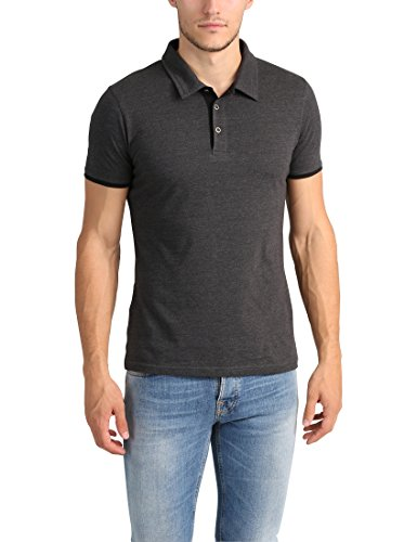 Lower East Herren Slim Fit Poloshirt, Anthrazit Melange / Schwarz, XL (Kontrast Kragen-kurzarm-polo-shirt)