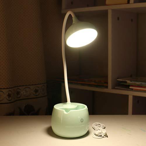 Kreative zylinder stifthalter lade led augenlicht einfache drei-geschwindigkeit touch nachttischlampe studentenwohnheim lernen schreibtischlampe cyan runde 19 * 14 * 41