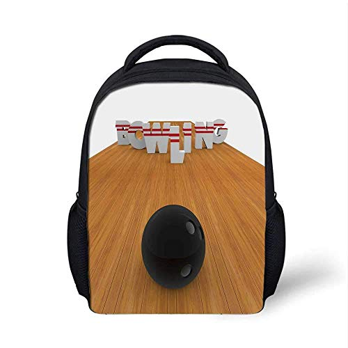Bowling Party Decorations Stylish Backpack,Bowling Alley with Skittles and Ball in Position Decorative for School Travel,9.4
