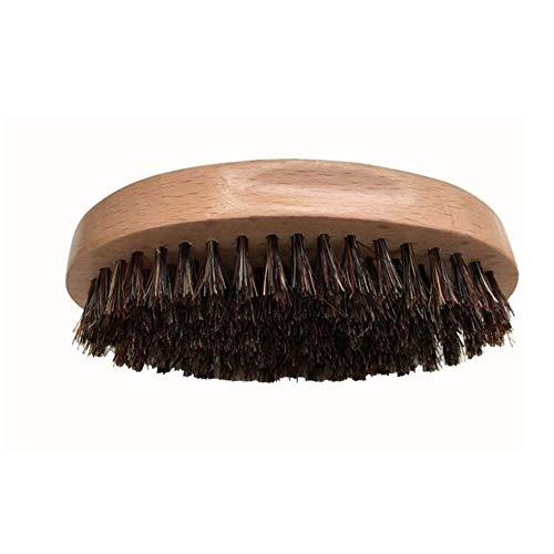 Tianzhiyi Bartpflege-Tools Bartbürste für Männer Runder Holzgriff Natürliche weiche Borsten Schnurrbärte Styling- und Pflegebürste Wildschweinborstenbürste
