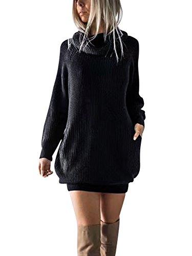 Simplee Apparel Damen Winter Kleid Elegant Lose Langarm Oversize Rollkragen Strickkleid Knielang Kleid mit Taschen Schwarz