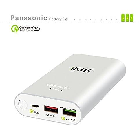 iKits [Qualcomm Certificado] Celular Panasonic batería de carga rápida 3.0 Banco de energía portátil cargador externo de la batería 10200mAh con la entrada: QC3.0, Salida: 2.4A + control de calidad para el iPhone / iPad, Samsung y más azul