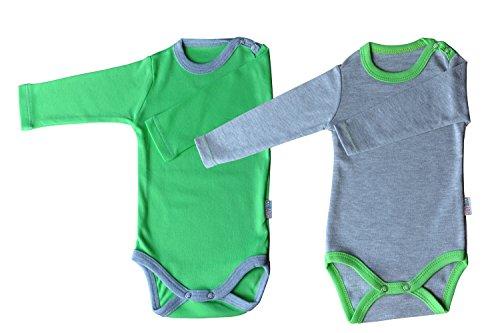 Langarm-Babybodys 2er Pack grün/grau & grau/grün Grösse 86 Body Unisex aus 100% Baumwolle mit Druckknöpfen