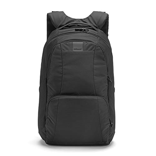 Pacsafe Metrosafe LS450 großer Nylon Rucksack mit Anti-Diebstahl Details für Damen und Herren, Daypack mit Diebstahlschutz, Tasche mit Sicherheits-Features, 25 L, Schwarz/Black
