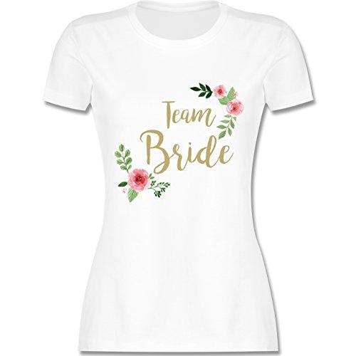 Crew Team Kostüm - JGA Junggesellinnenabschied - Team Bride Blumen Vintage - XL - Weiß - L191 - Damen Tshirt und Frauen T-Shirt
