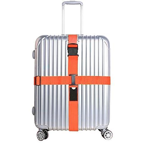 Luggage Straps, JTDEAL Heavy Duty Adjustable Cross Design Suitcase Straps Luggage Belt 2M/6.5FT Long Travel Belts Plus Luggage Tags Slot, Security Non-Slip (Orange)