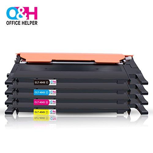 OFFICE HELPER CLT-K404S CLT-C404S CLT-M404S CLT-Y404S kompatibel Tonerpatronen für Samsung SL-C430W, SL-C480FW, SL-C480W, SL-C480FN(1Schwarz, 1Cyan, 1Magenta, 1Gelb)