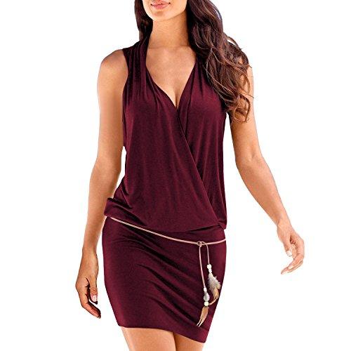 SUNNOW Elégante Tunique Robe Femmes Casual d'été sans Manches Col V Profond Robe de Plage Mini Robes T-Shirt Party Robe Court Mini Robe (M, Vin Rouge)