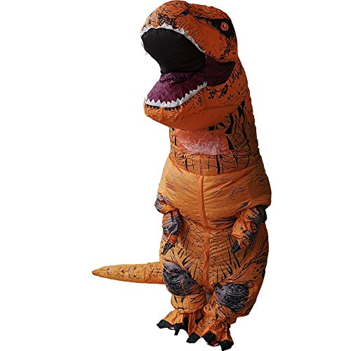 Zi Xi & Zi Qi T-Rex Inflatable Dinosaur Mascot Party Costume Fancy Dress Cosplay Outfit Adult (Marrón)