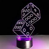 Acryl Nachtlicht Würfel 3D Nachtlicht Acryl Bunte Atmosphäre Lampe Stereo Vision Lampe Schlafzimmer Nachtlicht Geschenke Für Freunde Poker Liebhaber Licht