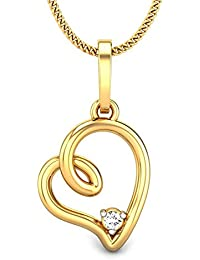Candere By Kalyan Jewellers Orelia Heart 14k Yellow Gold and Diamond Pendant