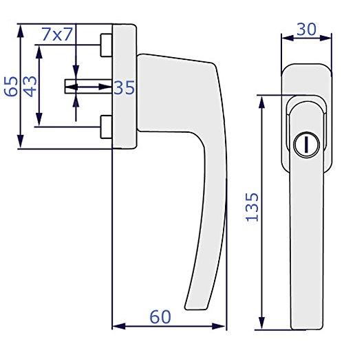 5x Fenstergriff abschließbar | Sicherheitsfenstergriff mit Kindersicherung in weiß | herkömmliche Stiftlänge von 35mm