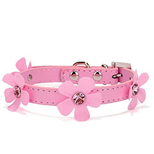 nd PU Leder Blumen Glitzer Strass Einstellbar Katze Hunde Haustier Halsbandschmuck XS S M L Schwarz rot rosa ()