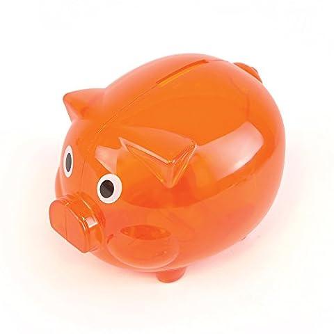 eBuyGB Transparente Kunststoff-Sparschwein / Money Box (orange)