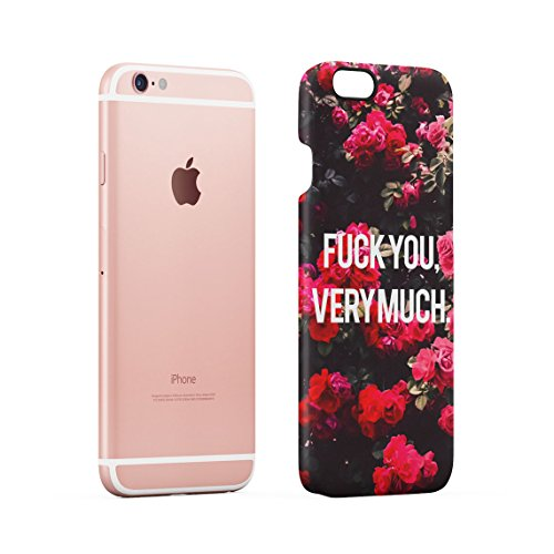 Fuck You Very Much Pink Roses Pattern Dünne Rückschale aus Hartplastik für iPhone 6 Plus & iPhone 6s Plus Handy Hülle Schutzhülle Slim Fit Case cover Fuck You Much