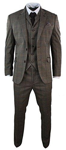 Herrenanzug Teilig Braun Kariert Tweed Fischgräte Design Vintage Eng Tailliert (Tweed Vintage-anzug)