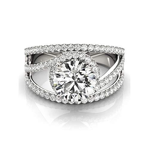 XIAO RUI 925 Sterling Silber Western Ring 1ct diamantring 4-TLG (Verlobungsringe 1ct Diamant)