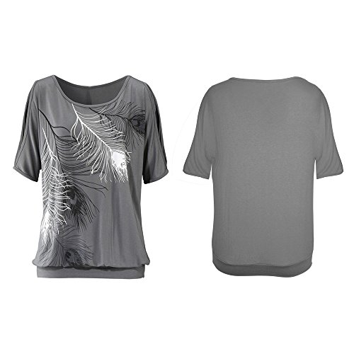 Aumir Women's Summer Casual Feather Print T-Shirt Round Neck Short Sleeve Off Shoulder Tops Loose Oversize Blouse