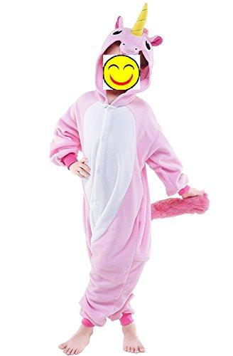 Misslight Einhorn Pyjama Damen Jumpsuits Tieroutfit Tierkostüme Schlafanzug Tier Sleepsuit mit Einhorn Kostüme festival tauglich Erwachsene (Größe 115, Pink)