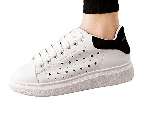 Moollyfox Elegent Couleur Solide Respirante Sneakers Basses Femme Blanc Noir 2