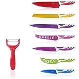 Multifunktions 7-teiliges Küchenmesser von Y&Y Küchenprofi Buntes Messer-Set mit Sparschäler Mehrfarbige rostfreies Set leicht zu reinigen
