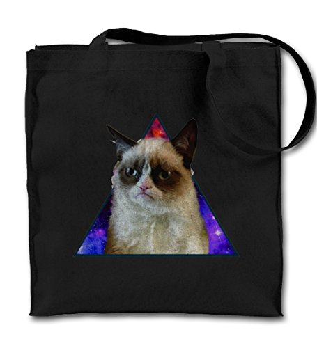 angry-mad-cat-space-triangle-divertente-nero-canvas-tote-bag-panno-shopping-bag-a-tracolla