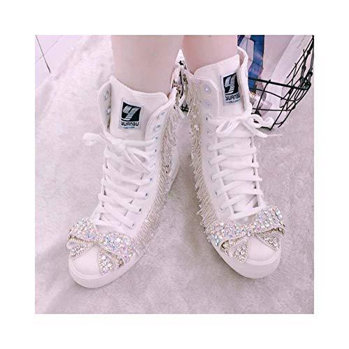 Lace Up Beads Bowknot Rhinestones Ankle Boots Flats Womens Pump Shoes Canvas New White (Hidden) US7=UK5=AU6=EUR 38 Ellie Shoes High Heel Pumps